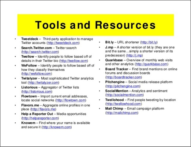 PR tools and resources